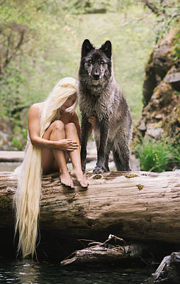 Fairy Photograph - A Wolf And His Girl by Andrea Borden