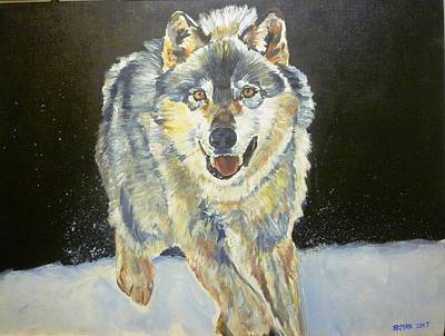 Painting - A Wolf In The Snow by Bryan Bustard