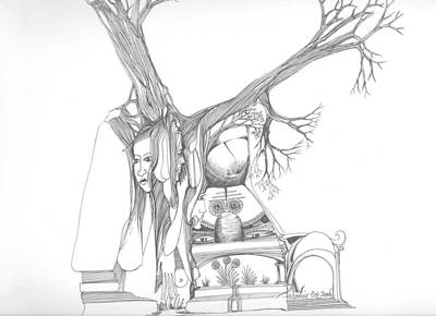 Art Print featuring the drawing A Woman A Temple A Tree And Some Rocks by Padamvir Singh