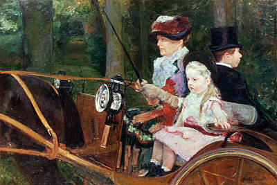 Coach Lamps Painting - A Woman And Child In The Driving Seat by Mary Stevenson Cassatt