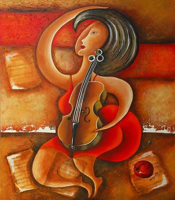 A Woman And Her Violin Art Print by Marta Giraldo