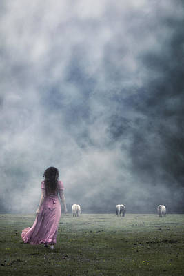 A Woman And Wild Ponies Art Print by Joana Kruse