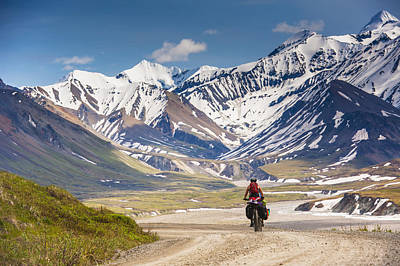 Gravel Road Photograph - A Woman Bicycle Touring In Denali by Michael Jones