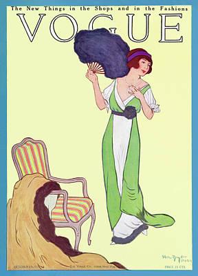 A Woman Carrying A Fan Art Print by Helen Dryden
