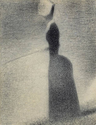 Rod Drawing - A Woman Fishing by Georges Pierre Seurat