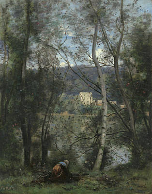 Rustic Painting - A Woman Gathering Faggots At Ville-d'avray by Camille Corot