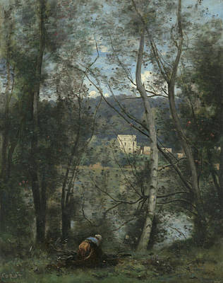 Painting - A Woman Gathering Faggots At Ville-d'avray by Jean-Baptiste-Camille Corot