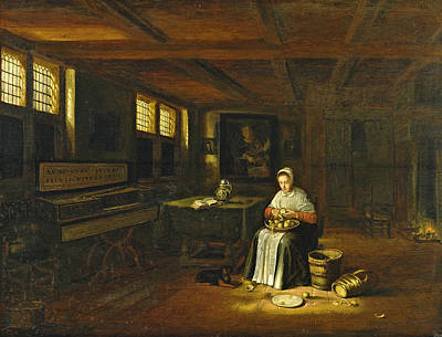 Painting - A Woman In An Interior Peeling Vegetables by Govert Dircksz Camphuysen