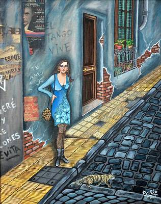Old Street Mixed Media - A Woman In Buenos Aires II by Graciela Bello