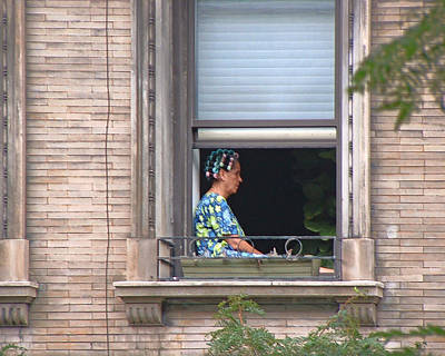 Photograph - A Woman In Curlers In A Second Floor Window by Stan  Magnan