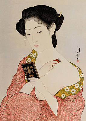 Colored Woman Art Drawing - A Woman In Underclothes by Goyo Hashiguchi