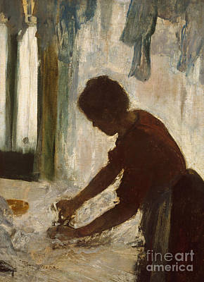 Clothes Line Painting - A Woman Ironing, 1873 by Edgar Degas