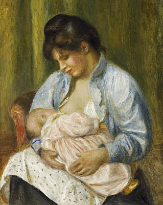 Painting - A Woman Nursing A Child by Auguste Renoir