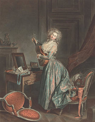 Desk Painting - A Woman Playing The Guitar by Jean-Francois Janinet