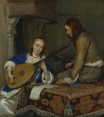 Woman Playing A Lute Painting - A Woman Playing The Theorbo by Gerard ter Borch