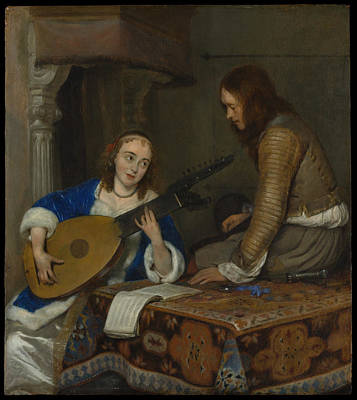 Woman Playing A Lute Painting - A Woman Playing The Theorbo-lute And A Cavalier by Gerard ter Borch the Younger