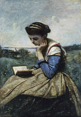 Ladies Painting - A Woman Reading by Camille Corot
