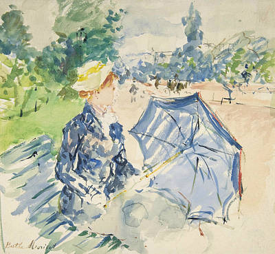A Woman Seated At A Bench On The Avenue Du Bois Art Print by Berthe Morisot