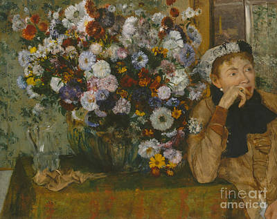 A Woman Seated Beside A Vase Of Flowers, 1865 Art Print