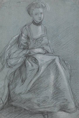 18th Century Drawing - A Woman Seated  by Thomas Gainsborough
