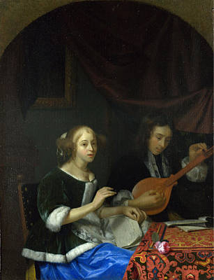 String Painting - A Woman Singing And A Man With A Cittern by Celestial Images
