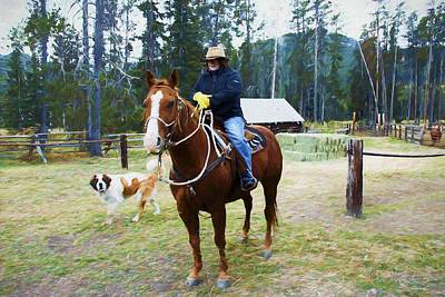 Photograph - A Woman Sitting On A Horse With St. Bernard Dog Looks On. Bear Creek  Guest Ranch Montana. by Rusty R Smith
