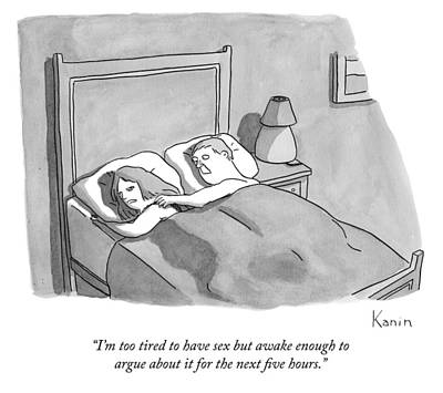 Sleep In Drawing - A Woman Speaks To Her Husband In Bed by Zachary Kanin