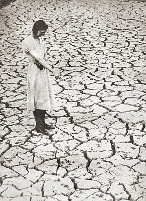 Cracks Drawing - A Woman Stands Looking At The Parched by Vintage Design Pics