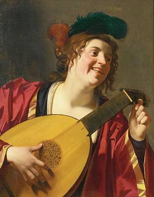 A Woman Tuning A Lute Art Print