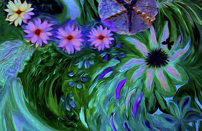 Digital Art - A Womans Touch With Her Flowers by Sherri's Of Palm Springs