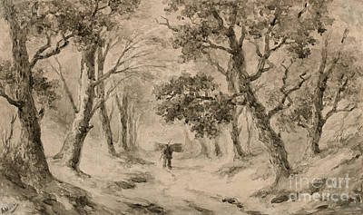 Trees In Snow Drawing - A Wood Gatherer In The Forest by Anton Mauve