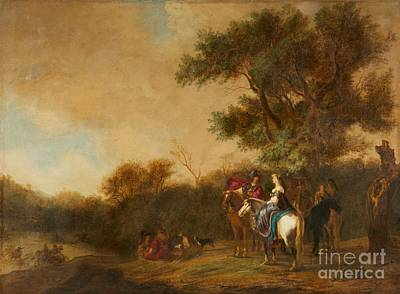 Hunting Party Painting - A Wooded Landscape With A Hunting Party by MotionAge Designs