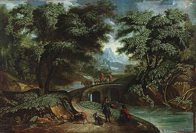 Hunting Party Painting - A Wooded Landscape With A Hunting Party by South German School