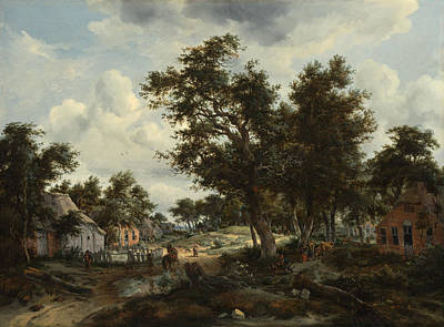 Tree Painting - A Wooded Landscape With Travelers On A Path Through A Hamlet by Meindert Hobbema