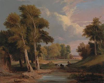 Fisherman Painting - A Wooded River Landscape With Fishermen By James Arthur O'connor, Circa 1830 by Celestial Images