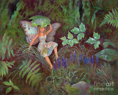 Hada Painting - A Woodland Fairy Named Solace by Nancy Lee Moran