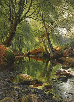 Painting - A Woodland Stream by Peder Monsted