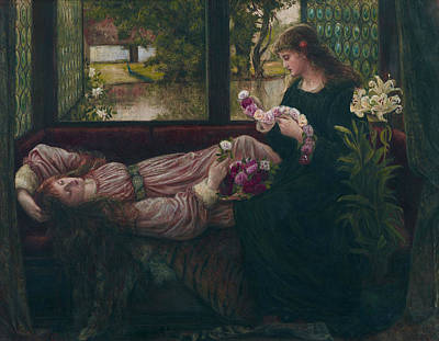 Wreath Painting - A Wreath Of Roses by Marie Spartali Stillman