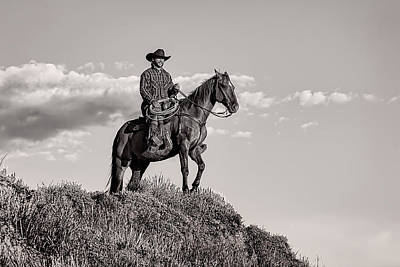 Photograph - A Wyoming Cowboy In Black And White by Kay Brewer
