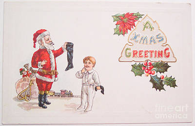 Painting - A Xmas Greetings With Santa And Child Vintage Card by R Muirhead Art
