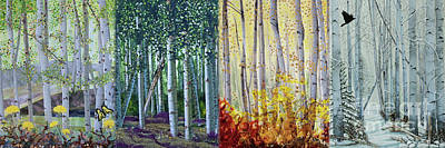 A Year In A Birch Forest Art Print