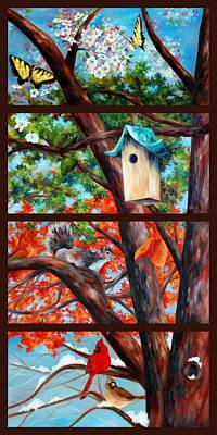 Four Seasons Tree Nature Summer Painting - A Years Worth Of Time In A Moments Glance by Rachel Lawson