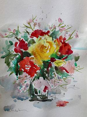 Painting - A Yellow Rose by Owen Hunt