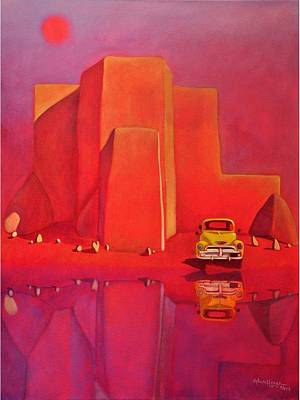 Painting - A Yellow Truck With A Red Moon In Ranchos by Art West