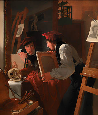 Examine Painting - A Young Artist Examining A Sketch In A Mirror by Mountain Dreams
