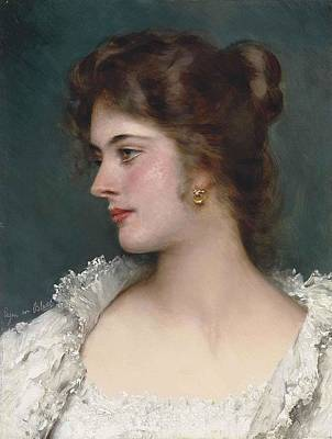 Eugen Von Blaas Painting - A Young Beauty by Eugen von Blaas
