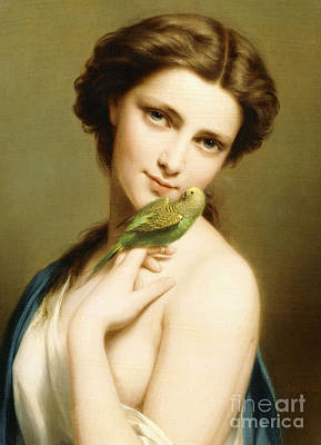 Parakeet Wall Art - Painting - A Young Beauty With A Parakeet by Fritz Zuber-Buhler