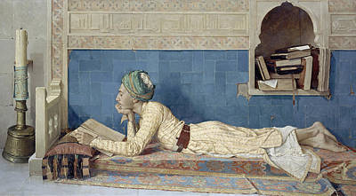 Interior Scene Painting - A Young Emir by Osman Hamdi Bey
