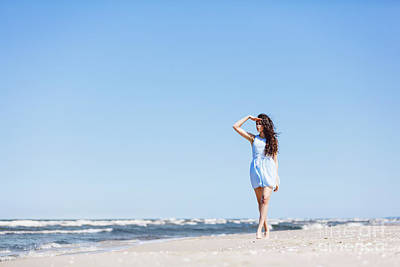 Photograph - A Young Girl Looking Steadily At The Sea. by Michal Bednarek