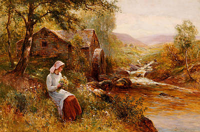 Nature Scene Painting - A Young Girl Picking Spring Flowers by Ernest Walbourn